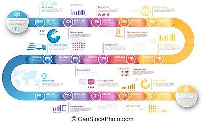 schablone, hystory, timeline, infographics, pfeil