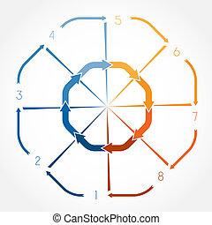 schablone, infographic, abbildung, acht, positionen