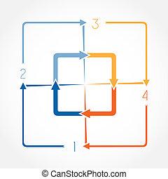 schablone, infographic, abbildung, vier, positionen
