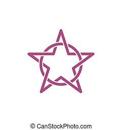 schablone, linie, vektor, abstrakt, kreis, sechseckig, logo, stern