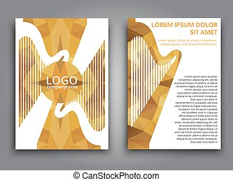 Polygonal, broschüre, musik, schablone. Vektor, elemente,... Vektor ...