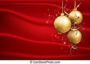 schablone, neu , karte, balls., gruß, gold, hintergrund., design, weihnachten, rotes , feiertag, hintergrund, elegant, jahr