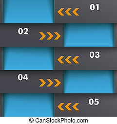schablone, optionen, 5, tiefe, blaues, orange, piad, design