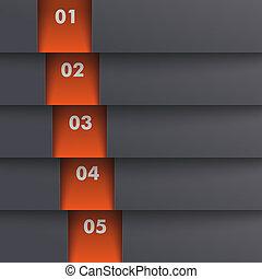 schablone, optionen, 5, tiefe, schwarz, orange, piad, design