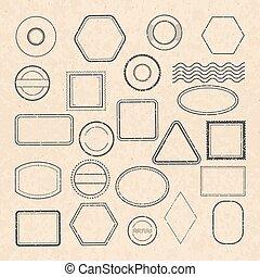 schablone, von, leerer , weinlese, postalisch, briefmarken, für, etiketten, design