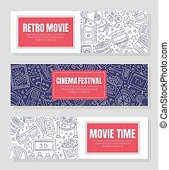 schablonen, kino, drei, festival., vektor, flieger, illustration.