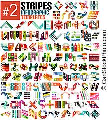 schablonen, riesig, satz, infographic, streifen, #2