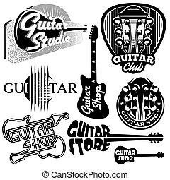 schablonen, satz, gitarre, thema, vektor, musik, monochrom, logo