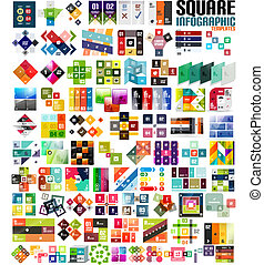 schablonen, satz, groß, modern, -, infographic, quadrate