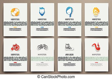 schablonen, satz, thema, vektor, hüfthose, doodles, korporative identität