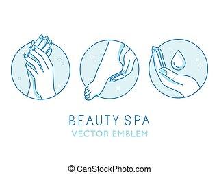 schablonen, satz, vektor, design, kosmetikartikel,...