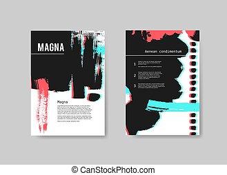 schablonen, stereo, satz, gemalt, abstrakt, hand, effect., vektor, design, künstlerisch, hintergrund, flieger, gezeichnet