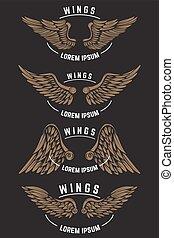 schablonen, wings., satz, emblem, weinlese, elemente, design