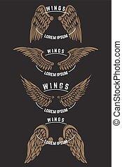 schablonen, wings., satz, emblem, weinlese, emblem, abbildung, vektor, design, logo, etikett, poster., elemente