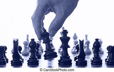 schach, hand, brett