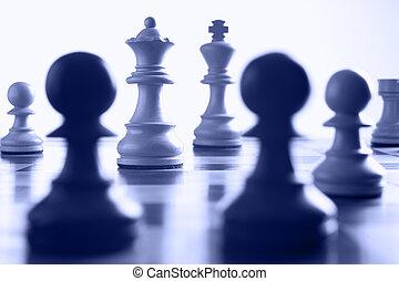 schach, königin, angriff, weißes