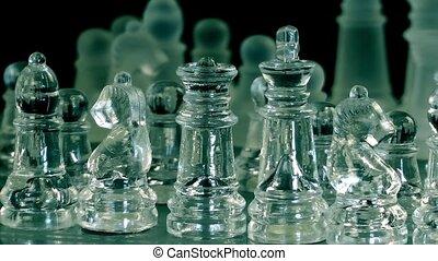 schach spiel, gemacht, per, glas