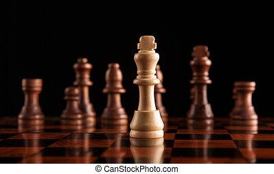 schach spiel, mit, der, koenig, in, der, zentrieren