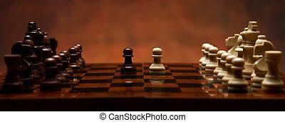 schach spiel, mit, stücke, tisch