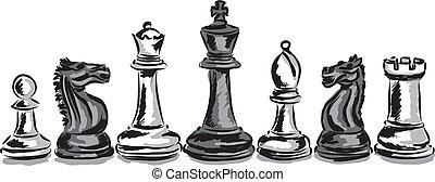 schach spiel, stücke, begriff, illustrat