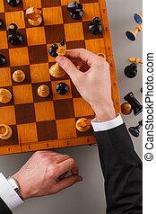 schach, spielende , game., geschäftsmann