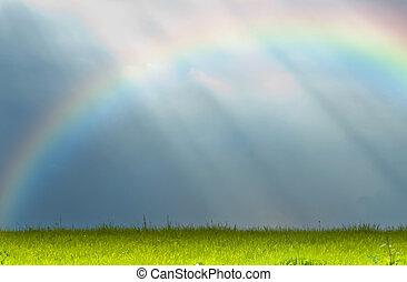 schachten, van, zonlicht, met, regenboog