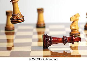 schackmatt, med, trä, schack del