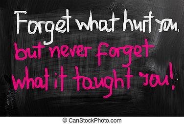 schaden, wat, concept, u, vergeten