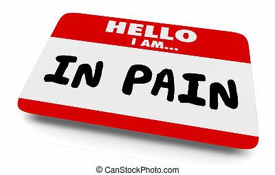 schaden, ziekte, pijn, naam, illustratie, label, letsel, 3d