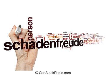 Schadenfreude word cloud concept