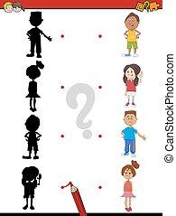 schaduw, activiteit, met, kinderen