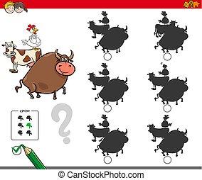 schaduw, activiteit, spel, met, boerderijdieren