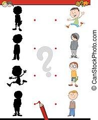 schaduw, activiteit, voor, kinderen
