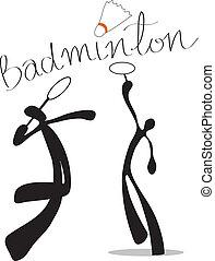 schaduw, badminton, spotprent, man