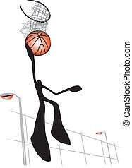 schaduw, basketbal, man