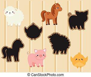 schaduw, bijbehorend, game., geitjes, activiteit, met, schattig, boerderijdieren