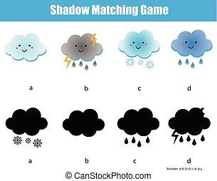schaduw, bijbehorend, game., geitjes, onderwijs, activiteit, met, schattig, clouds., leren, weer, thema