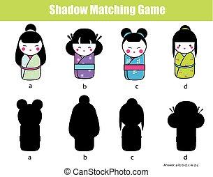 schaduw, bijbehorend, game., vinden, de, rechts, shadow., activiteit, voor, geitjes, toddlers, kinderen