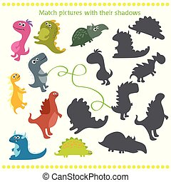 schaduw, bijbehorend, spel, met, spotprent, dinosaurus, voor, kinderen