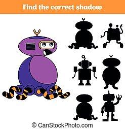 schaduw, bijbehorend, spel, voor, children., vinden, de, rechts, shadow., activiteit, voor, preschool, geitjes