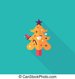 schaduw, boompje, eps10, kerstmis, pictogram, plat, lang