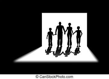 schaduw, deur, gezin