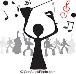 schaduw, dirigent, man