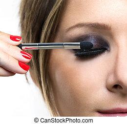 schaduw, eyeshadows., oog, borstel