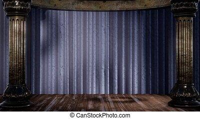 schaduw, gordijn, licht, toneel
