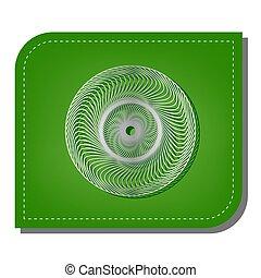 schaduw, mandala., oog, zilver, ecologisch, versteld, leaf., lijn, groene, illustration., geometrisch, donker, pictogram, helling