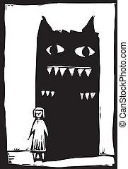 schaduw, monster