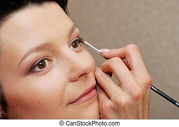 schaduw, oog, make-up.