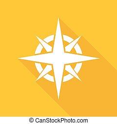 schaduw, pictogram, lang, kompas