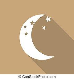 schaduw, pictogram, lang, maan